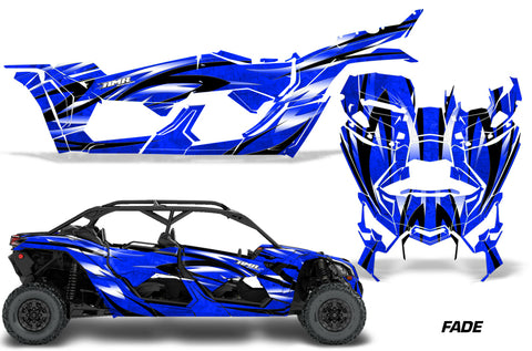 Full Graphics Kit Decal Wrap For Can-Am Maverick X3 MAX DS RS 4D 2016+ FADE  BLUE
