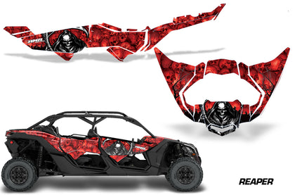 Half Graphics Kit Decal Wrap For Can-Am Maverick X3 MAX DS RS 4D 2016+ REAPER RED-atv motorcycle utv parts accessories gear helmets jackets gloves pantsAll Terrain Depot