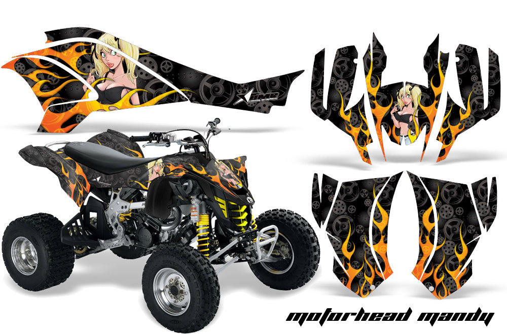 ATV Graphics Kit Quad Decal Wrap For Can-Am DS450 XMX XXC 2008-2016 MOTO MANDY BLACK-atv motorcycle utv parts accessories gear helmets jackets gloves pantsAll Terrain Depot