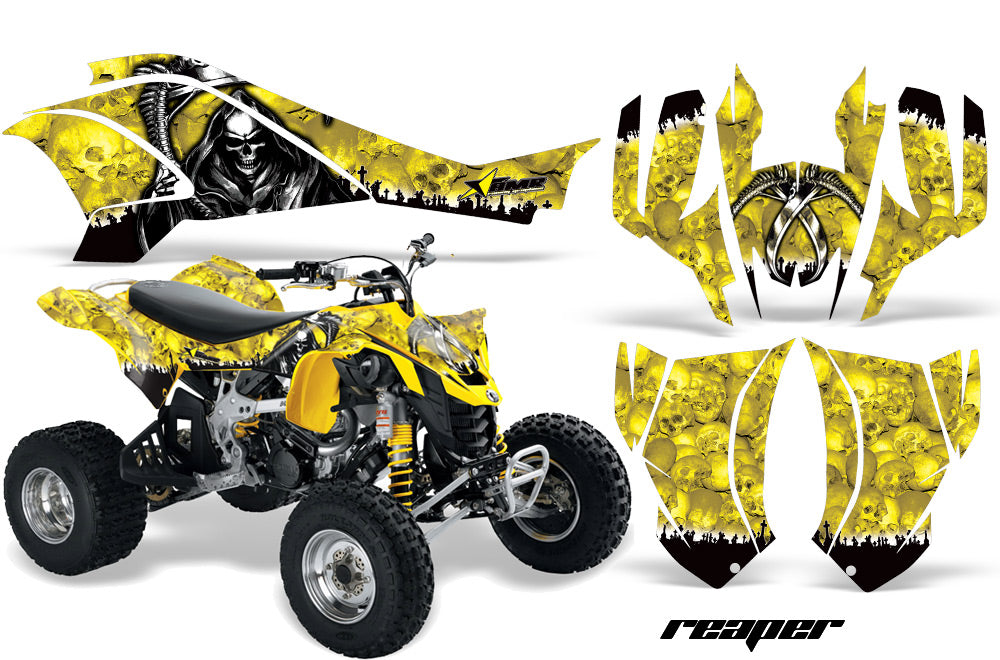 ATV Graphics Kit Quad Decal Wrap For Can-Am DS450 XMX XXC 2008-2016 REAPER YELLOW-atv motorcycle utv parts accessories gear helmets jackets gloves pantsAll Terrain Depot