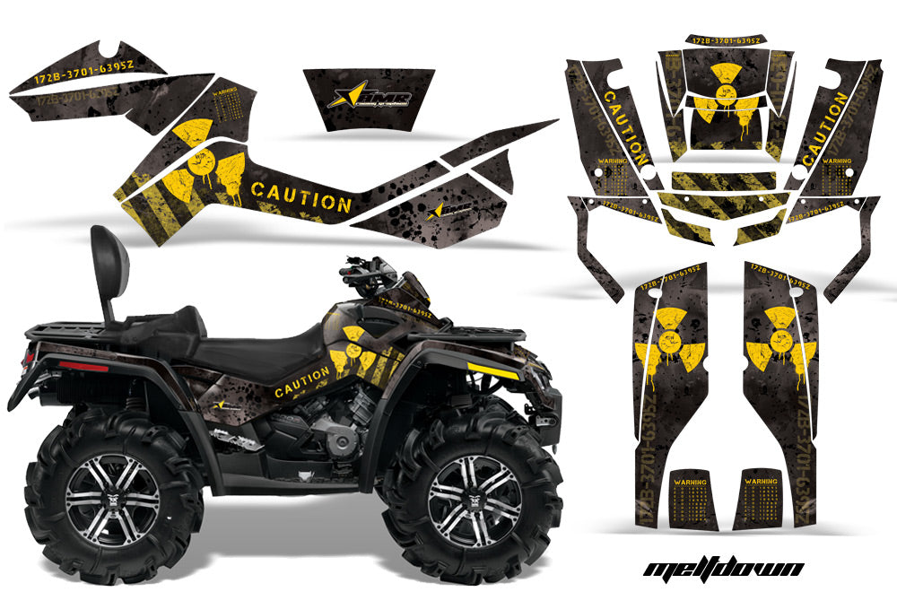 ATV Graphics Kit Decal Wrap For CanAm Outlander Max 500/800 2006-2012 MELTDOWN YELLOW BLACK-atv motorcycle utv parts accessories gear helmets jackets gloves pantsAll Terrain Depot