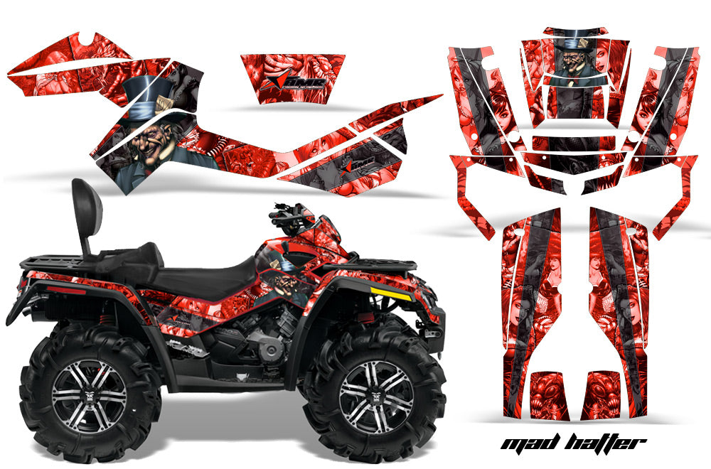 ATV Graphics Kit Decal Wrap For CanAm Outlander Max 500/800 2006-2012 HATTER RED BLACK-atv motorcycle utv parts accessories gear helmets jackets gloves pantsAll Terrain Depot