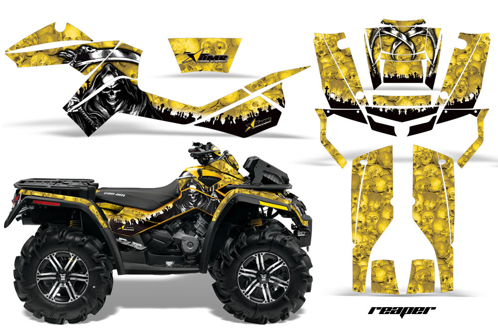 ATV Graphics Kit Decal Wrap For CanAm Outlander XMR 500/800 2006-2012 REAPER YELLOW-atv motorcycle utv parts accessories gear helmets jackets gloves pantsAll Terrain Depot