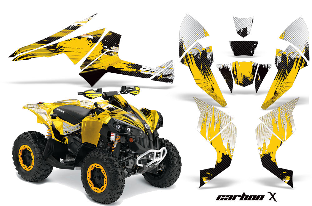ATV Decal Graphics Kit Quad Wrap For Can-Am Renegade 500 X/R 800X/R 1000 CARBONX YELLOW-atv motorcycle utv parts accessories gear helmets jackets gloves pantsAll Terrain Depot