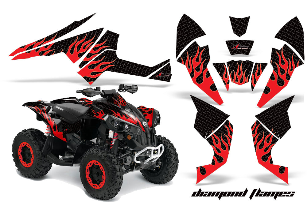 ATV Decal Graphics Kit Quad Wrap For Can-Am Renegade 500 X/R 800X/R 1000 DIAMOND FLAMES RED BLACK-atv motorcycle utv parts accessories gear helmets jackets gloves pantsAll Terrain Depot