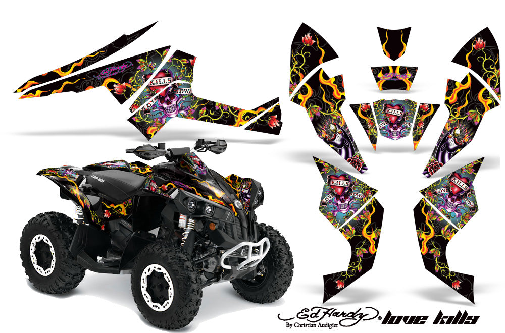 ATV Decal Graphics Kit Quad Wrap For Can-Am Renegade 500 X/R 800X/R 1000 EDHLK BLACK-atv motorcycle utv parts accessories gear helmets jackets gloves pantsAll Terrain Depot