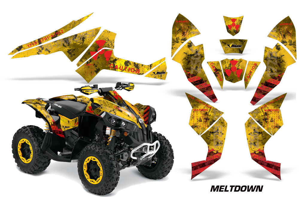 ATV Decal Graphics Kit Quad Wrap For Can-Am Renegade 500 X/R 800X/R 1000 MELTDOWN RED YELLOW-atv motorcycle utv parts accessories gear helmets jackets gloves pantsAll Terrain Depot