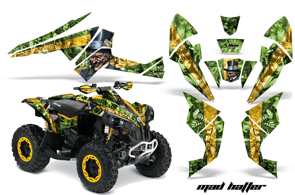 ATV Decal Graphics Kit Quad Wrap For Can-Am Renegade 500 X/R 800X/R 1000 HATTER GREEN YELLOW-atv motorcycle utv parts accessories gear helmets jackets gloves pantsAll Terrain Depot