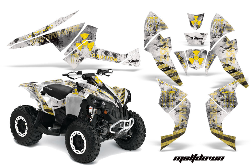 ATV Decal Graphics Kit Quad Wrap For Can-Am Renegade 500 X/R 800X/R 1000 MELTDOWN YELLOW WHITE-atv motorcycle utv parts accessories gear helmets jackets gloves pantsAll Terrain Depot