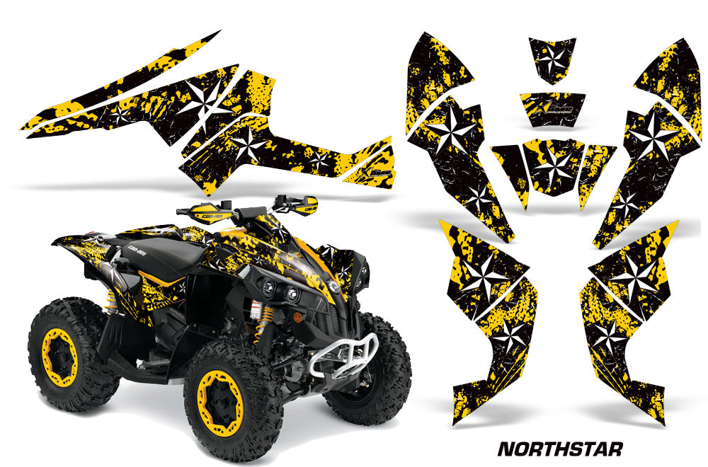 ATV Decal Graphics Kit Quad Wrap For Can-Am Renegade 500 X/R 800X/R 1000 NORTHSTAR YELLOW-atv motorcycle utv parts accessories gear helmets jackets gloves pantsAll Terrain Depot