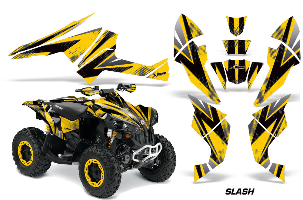 ATV Decal Graphics Kit Quad Wrap For Can-Am Renegade 500 X/R 800X/R 1000 SLASH BLACK YELLOW-atv motorcycle utv parts accessories gear helmets jackets gloves pantsAll Terrain Depot