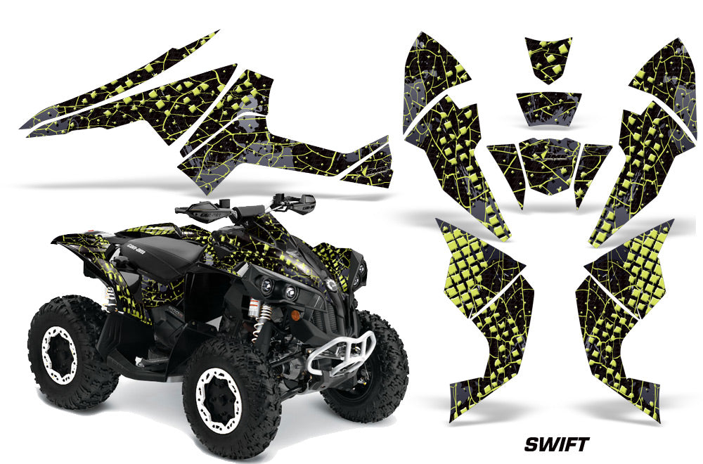 ATV Decal Graphics Kit Quad Wrap For Can-Am Renegade 500 X/R 800X/R 1000 SWIFT MANTA GREEN-atv motorcycle utv parts accessories gear helmets jackets gloves pantsAll Terrain Depot