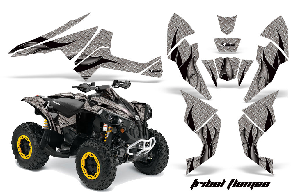 ATV Decal Graphics Kit Quad Wrap For Can-Am Renegade 500 X/R 800X/R 1000 TRIBAL BLACK SILVER-atv motorcycle utv parts accessories gear helmets jackets gloves pantsAll Terrain Depot