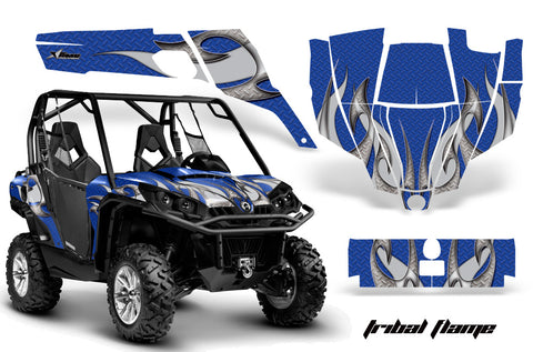 UTV Graphics Kit SXS Decal Sticker Wrap For Can-Am Commander 800 1000 TRIBAL SILVER BLUE