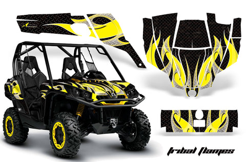 UTV Graphics Kit SXS Decal Sticker Wrap For Can-Am Commander 800 1000 TRIBAL YELLOW BLACK