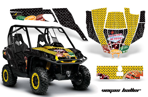 UTV Graphics Kit SXS Decal Sticker Wrap For Can-Am Commander 800 1000 VEGAS BLACK YELLOW