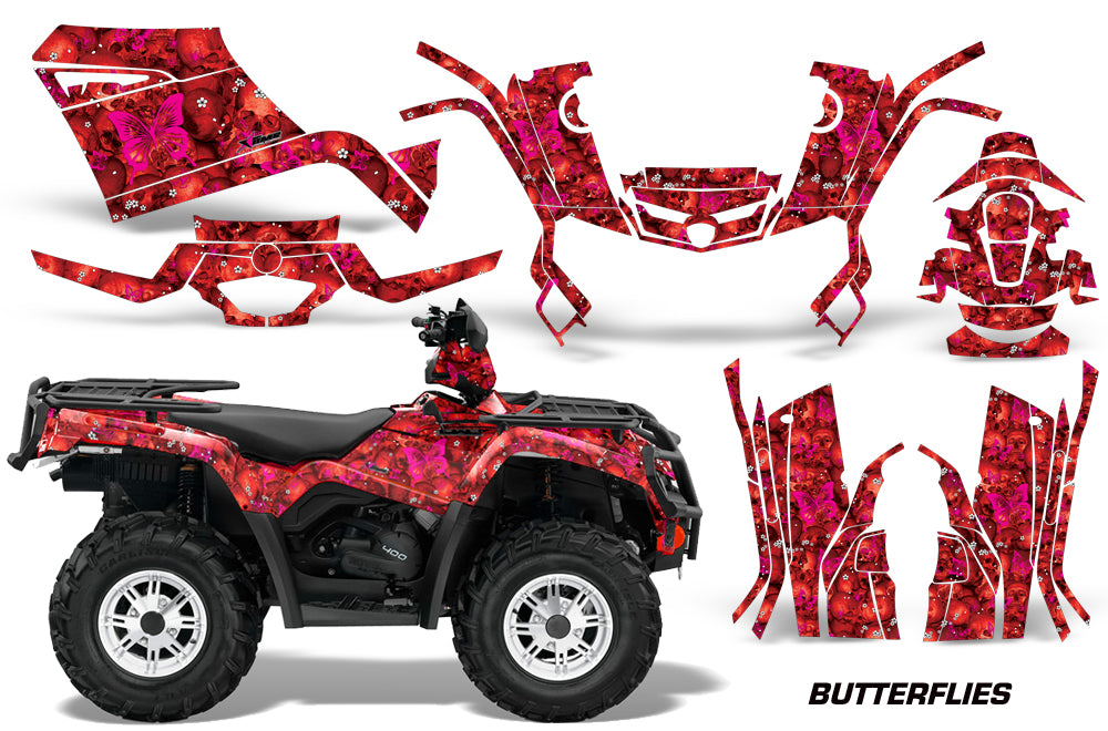 ATV Graphics Kit Decal Sticker Wrap For Can-Am Outlander 400 2009-2014 BUTTERFLEIS PINK RED-atv motorcycle utv parts accessories gear helmets jackets gloves pantsAll Terrain Depot