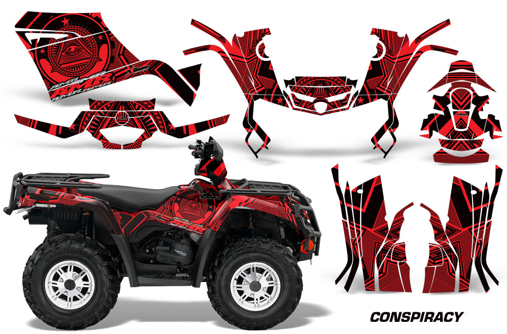 ATV Graphics Kit Decal Sticker Wrap For Can-Am Outlander 400 2009-2014 CONSPIRACY RED-atv motorcycle utv parts accessories gear helmets jackets gloves pantsAll Terrain Depot