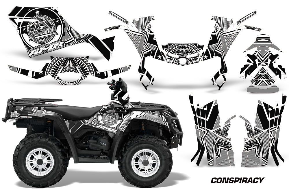 ATV Graphics Kit Decal Sticker Wrap For Can-Am Outlander 400 2009-2014 CONSPIRACY WHITE-atv motorcycle utv parts accessories gear helmets jackets gloves pantsAll Terrain Depot
