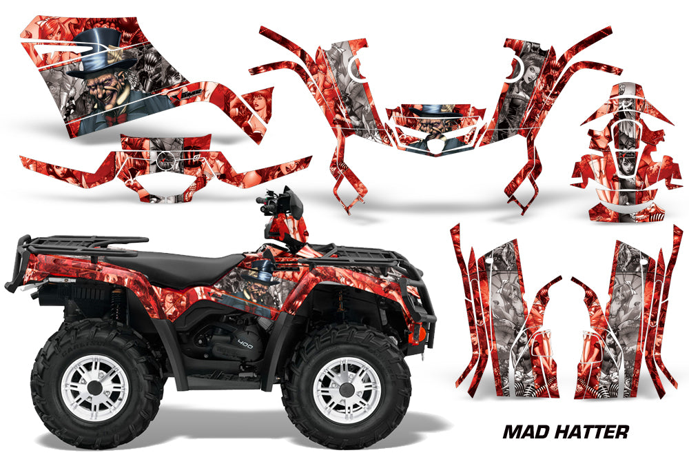 ATV Graphics Kit Decal Sticker Wrap For Can-Am Outlander 400 2009-2014 HATTER RED SILVER-atv motorcycle utv parts accessories gear helmets jackets gloves pantsAll Terrain Depot