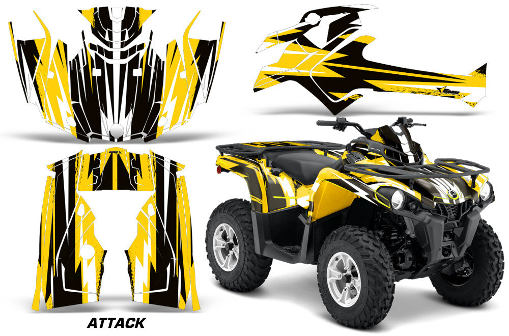 ATV Graphics Kit Decal Sticker Wrap For Can-Am Outlander-L 2014-2015 ATTACK YELLOW-atv motorcycle utv parts accessories gear helmets jackets gloves pantsAll Terrain Depot