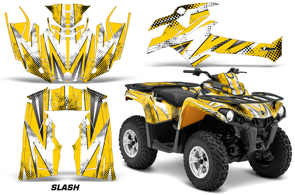 ATV Graphics Kit Decal Sticker Wrap For Can-Am Outlander-L 2014-2015 SLASH WHITE YELLOW-atv motorcycle utv parts accessories gear helmets jackets gloves pantsAll Terrain Depot