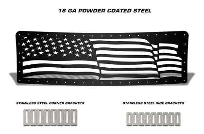 1 Piece Steel Grille for Ford F150 Lariat 2009-2012 - AMERICAN FLAG WAVE