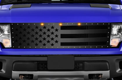 1 Piece Steel Grille for Ford Raptor SVT 2010-2014 - AMERICA FLAG SOLID