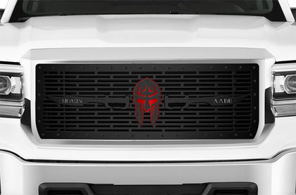 1 Piece Steel Grille for GMC Sierra & Sierra Denali 2014-2015 - MOLON LABE w/ RED ACRYLIC and STAINLESS STEEL UNDERLAY