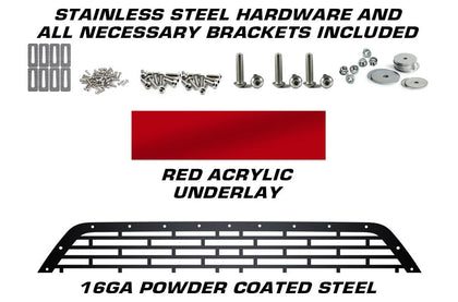 1 Piece Steel Grille for Ford F150 2009-2014 - FORD w/ RED ACRYLIC UNDERLAY