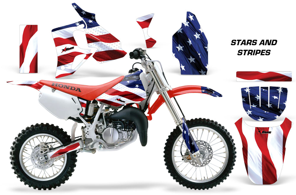 Dirt Bike Graphics Kit MX Decal Wrap For Honda CR80 CR 80 1996-2002 USA FLAG-atv motorcycle utv parts accessories gear helmets jackets gloves pantsAll Terrain Depot