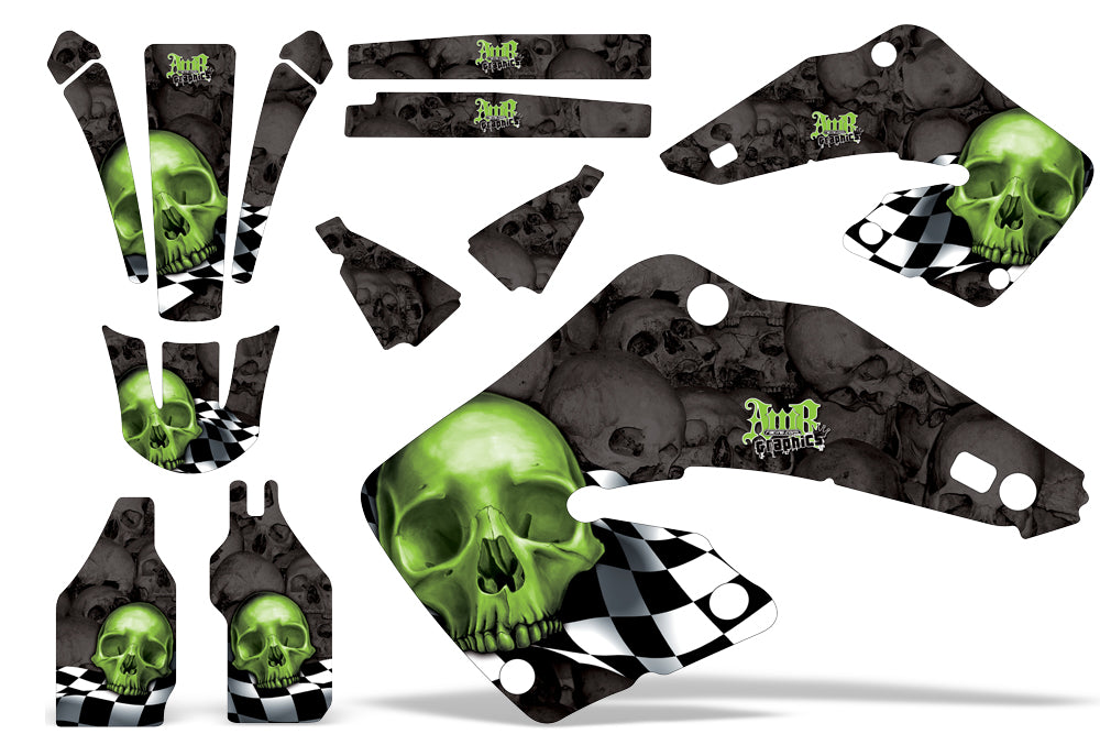 Dirt Bike Graphics Kit MX Decal Wrap For Honda CR125 CR250 2000-2001 CHECKERED GREEN BLACK-atv motorcycle utv parts accessories gear helmets jackets gloves pantsAll Terrain Depot