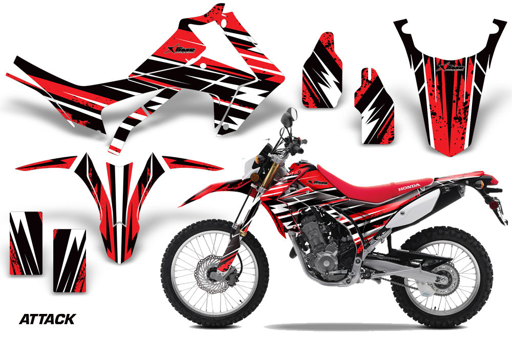 Dirt Bike Graphics Kit Decal Sticker Wrap For Honda CRF250L 2013-2016 ATTACK RED-atv motorcycle utv parts accessories gear helmets jackets gloves pantsAll Terrain Depot