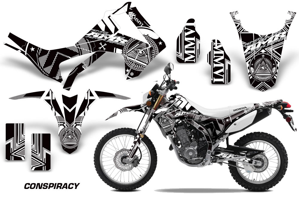 Dirt Bike Graphics Kit Decal Sticker Wrap For Honda CRF250L 2013-2016 CONSPIRACY WHITE-atv motorcycle utv parts accessories gear helmets jackets gloves pantsAll Terrain Depot