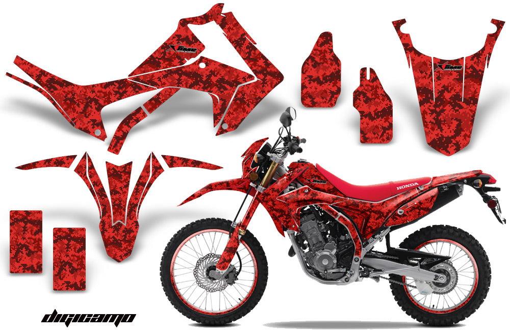 Graphics Kit Decal Sticker Wrap + # Plates For Honda CRF250L 2013-2016 DIGICAMO RED-atv motorcycle utv parts accessories gear helmets jackets gloves pantsAll Terrain Depot