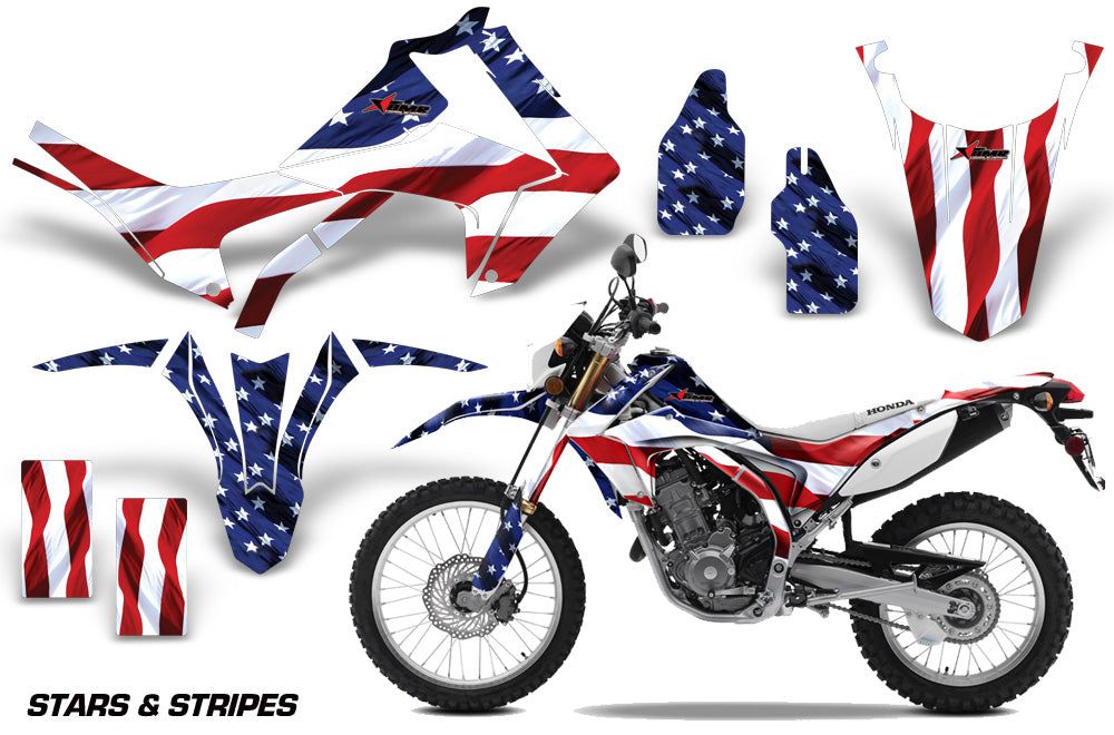Dirt Bike Graphics Kit Decal Sticker Wrap For Honda CRF250L 2013-2016 USA FLAG-atv motorcycle utv parts accessories gear helmets jackets gloves pantsAll Terrain Depot