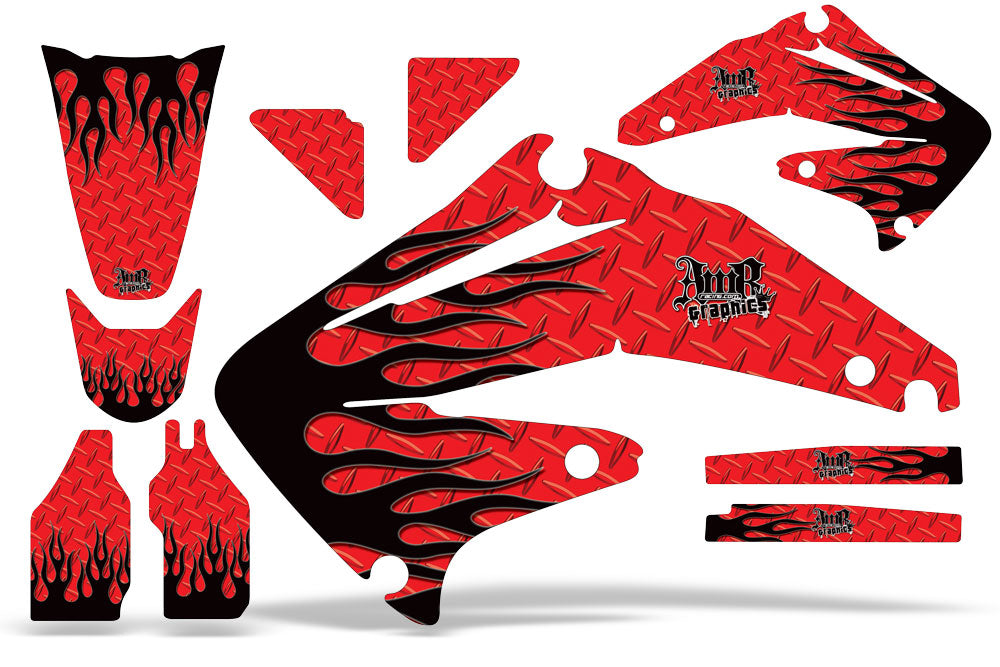 Dirt Bike Graphics Kit Decal Sticker Wrap For Honda CRF450R 2002-2004 DIAMOND FLAMES RED BLACK-atv motorcycle utv parts accessories gear helmets jackets gloves pantsAll Terrain Depot