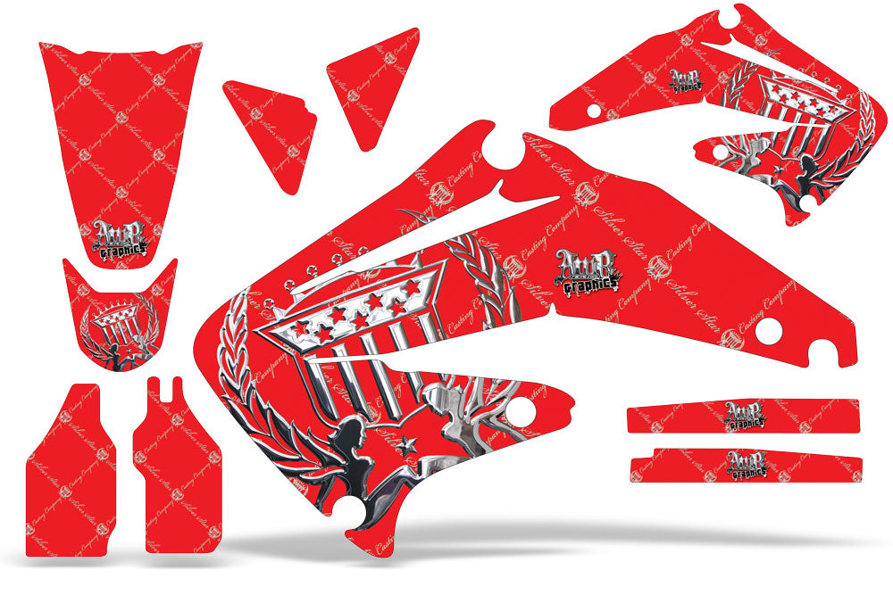 Dirt Bike Graphics Kit Decal Sticker Wrap For Honda CRF450R 2002-2004 RELOADED CHROME RED-atv motorcycle utv parts accessories gear helmets jackets gloves pantsAll Terrain Depot