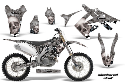Dirt Bike Graphics Kit Decal Sticker Wrap For Honda CRF250R 2010-2013 CHECKERED SILVER