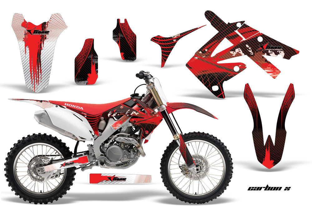 Dirt Bike Graphics Kit Decal Sticker Wrap For Honda CRF250R 2010-2013 CARBONX RED-atv motorcycle utv parts accessories gear helmets jackets gloves pantsAll Terrain Depot