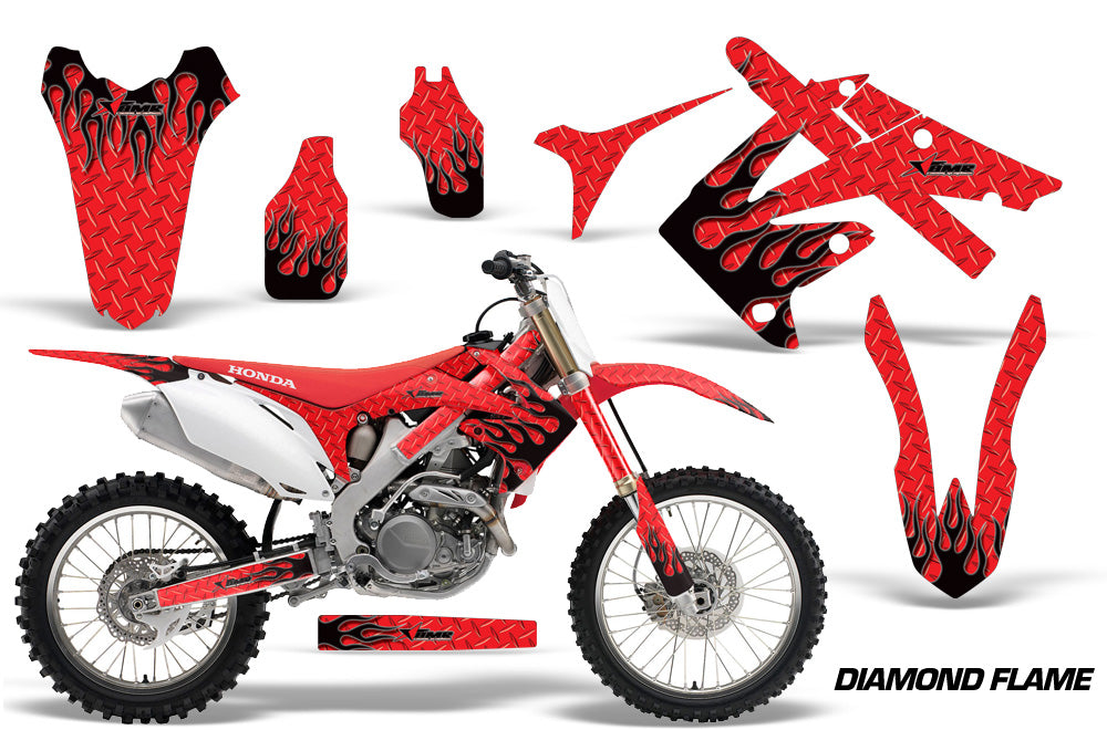Dirt Bike Graphics Kit Decal Sticker Wrap For Honda CRF250R 2010-2013 DIAMOND FLAMES BLACK RED-atv motorcycle utv parts accessories gear helmets jackets gloves pantsAll Terrain Depot