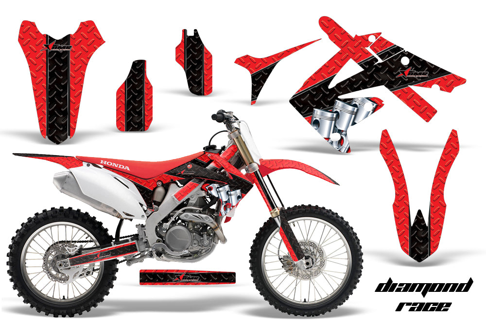 Dirt Bike Graphics Kit Decal Sticker Wrap For Honda CRF250R 2010-2013 DIAMOND RACE BLACK RED-atv motorcycle utv parts accessories gear helmets jackets gloves pantsAll Terrain Depot