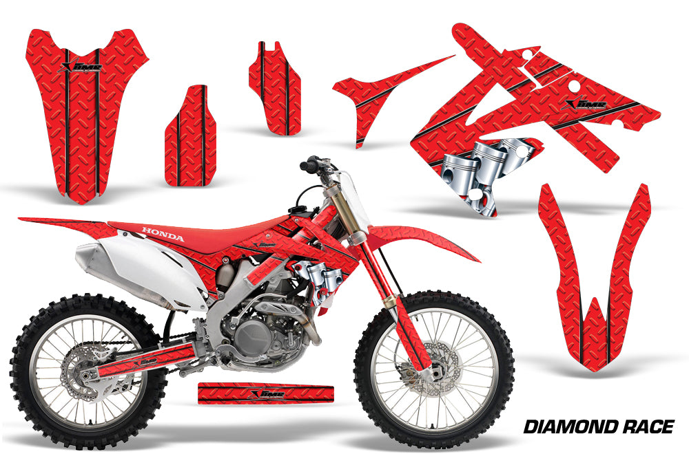 Dirt Bike Graphics Kit Decal Sticker Wrap For Honda CRF250R 2010-2013 DIAMOND RACE RED-atv motorcycle utv parts accessories gear helmets jackets gloves pantsAll Terrain Depot