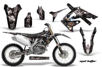 Dirt Bike Graphics Kit Decal Sticker Wrap For Honda CRF250R 2010-2013 HATTER SILVER BLACK
