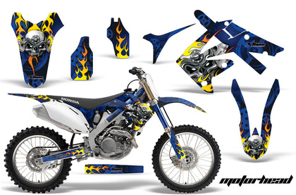 Dirt Bike Graphics Kit Decal Sticker Wrap For Honda CRF250R 2010-2013 MOTORHEAD BLUE