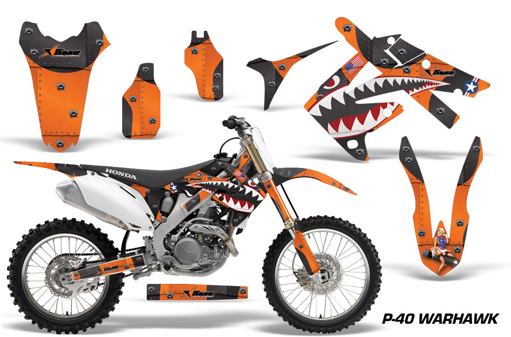 Dirt Bike Graphics Kit Decal Sticker Wrap For Honda CRF250R 2010-2013 WARHAWK ORANGE-atv motorcycle utv parts accessories gear helmets jackets gloves pantsAll Terrain Depot