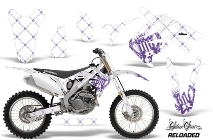 Dirt Bike Graphics Kit Decal Sticker Wrap For Honda CRF250R 2010-2013 RELOADED PURPLE WHITE