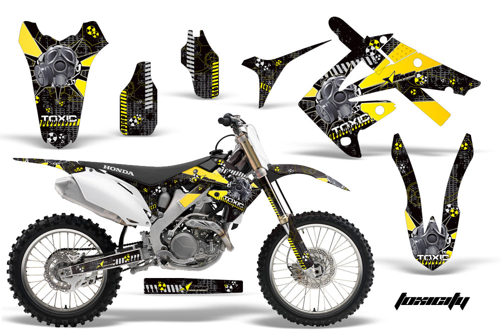 Dirt Bike Graphics Kit Decal Sticker Wrap For Honda CRF250R 2010-2013 TOXIC YELLOW BLACK-atv motorcycle utv parts accessories gear helmets jackets gloves pantsAll Terrain Depot