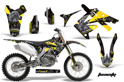 Dirt Bike Graphics Kit Decal Sticker Wrap For Honda CRF250R 2010-2013 TOXIC YELLOW BLACK