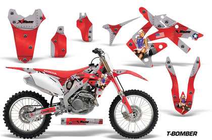 Dirt Bike Graphics Kit Decal Sticker Wrap For Honda CRF250R 2010-2013 TBOMBER RED
